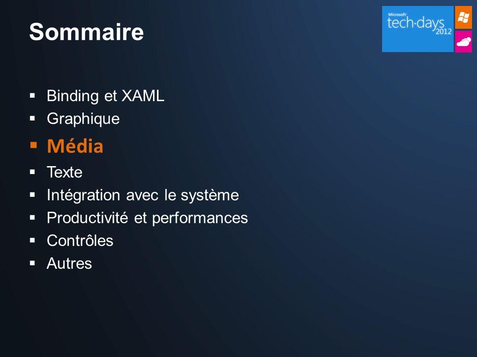 Sommaire Binding et XAML Graphique Média Texte Intégration avec le système Productivité et performances Contrôles Autres