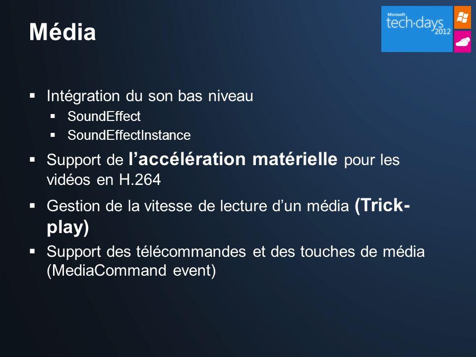 Média Intégration du son bas niveau SoundEffect SoundEffectInstance Support de laccélération matérielle pour les vidéos en H.264 Gestion de la vitesse de lecture dun média (Trick- play) Support des télécommandes et des touches de média (MediaCommand event)