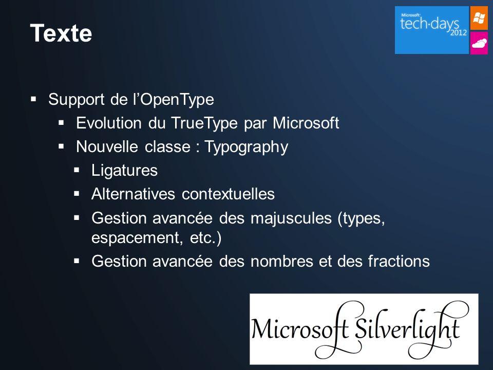 Texte Support de lOpenType Evolution du TrueType par Microsoft Nouvelle classe : Typography Ligatures Alternatives contextuelles Gestion avancée des majuscules (types, espacement, etc.) Gestion avancée des nombres et des fractions