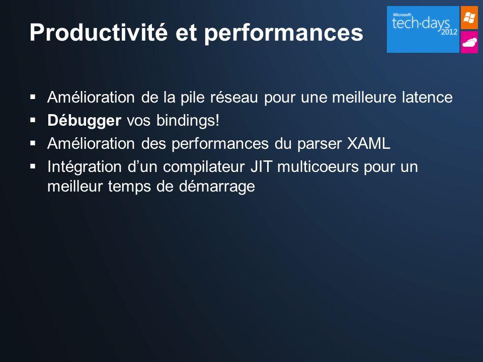Productivité et performances Amélioration de la pile réseau pour une meilleure latence Débugger vos bindings.