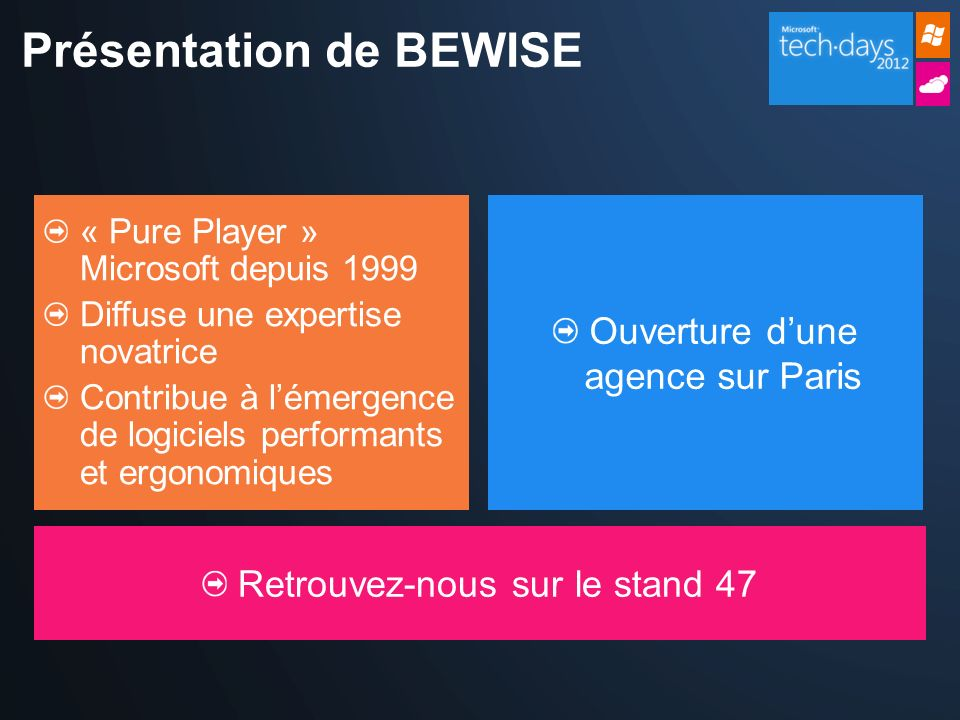 Présentation de BEWISE « Pure Player » Microsoft depuis 1999 Diffuse une expertise novatrice Contribue à lémergence de logiciels performants et ergonomiques Ouverture dune agence sur Paris Retrouvez-nous sur le stand 47
