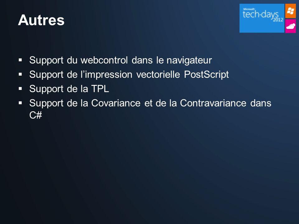 Support du webcontrol dans le navigateur Support de limpression vectorielle PostScript Support de la TPL Support de la Covariance et de la Contravariance dans C#