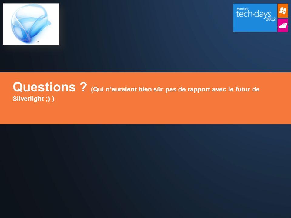 Questions (Qui nauraient bien sûr pas de rapport avec le futur de Silverlight ;) )