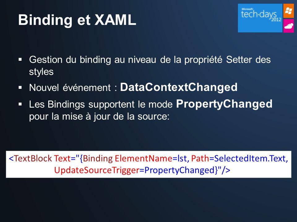 Binding et XAML Gestion du binding au niveau de la propriété Setter des styles Nouvel événement : DataContextChanged Les Bindings supportent le mode PropertyChanged pour la mise à jour de la source: