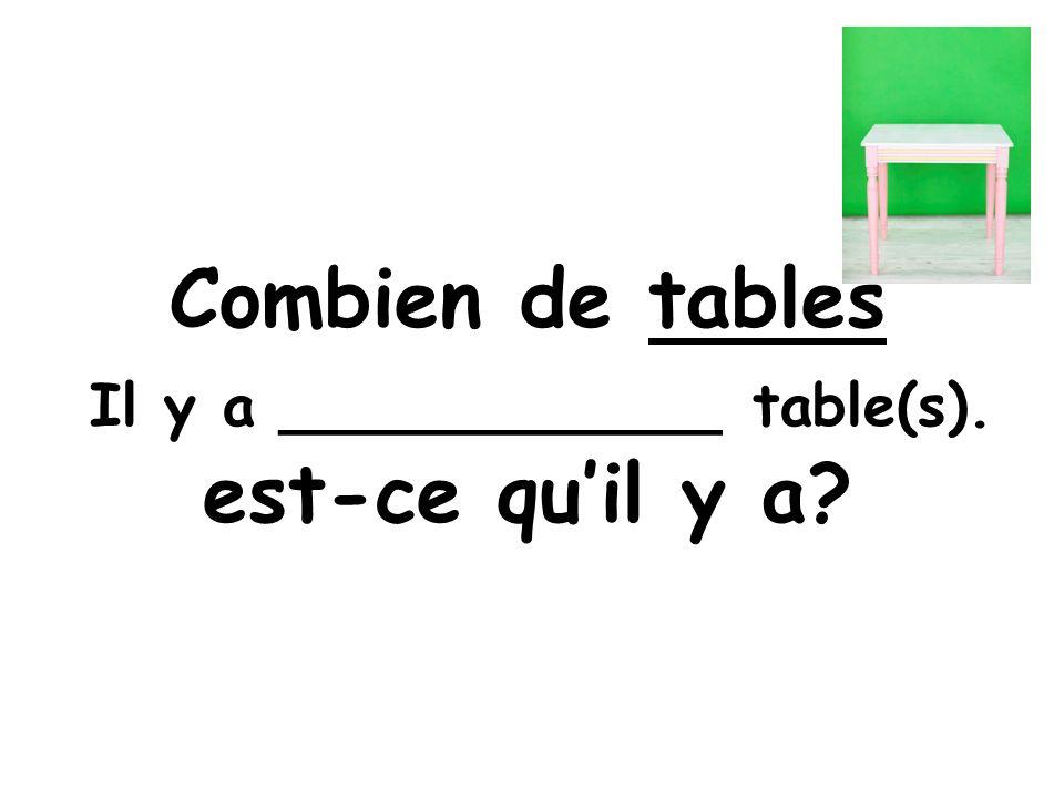 Combien de tables est-ce quil y a Il y a ____________ table(s).