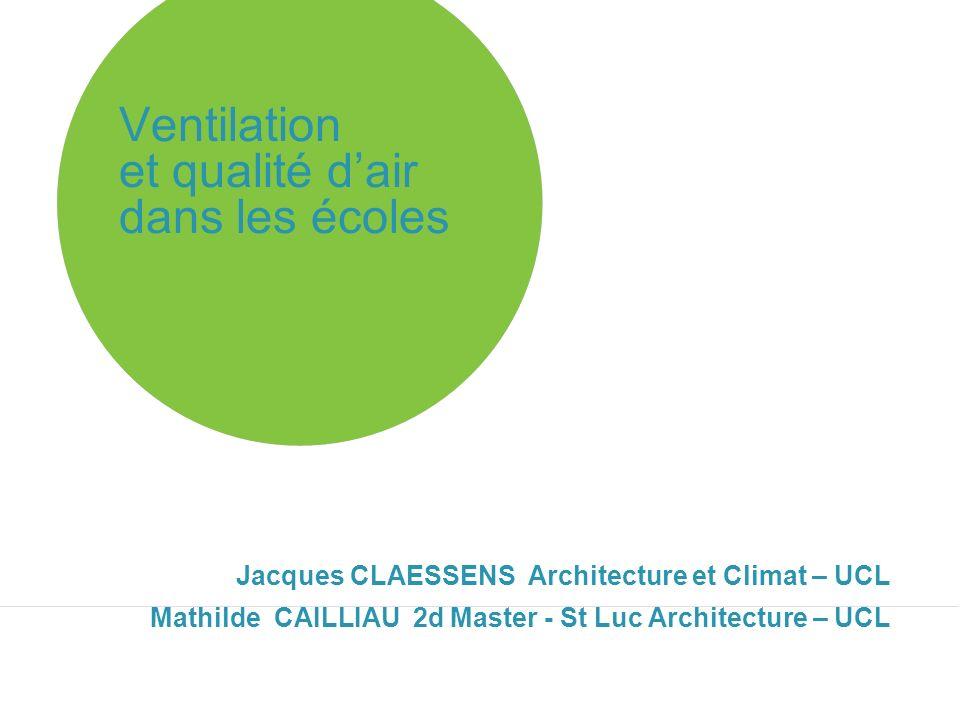 Ventilation et qualité dair dans les écoles Jacques CLAESSENS Architecture et Climat – UCL Mathilde CAILLIAU 2d Master - St Luc Architecture – UCL