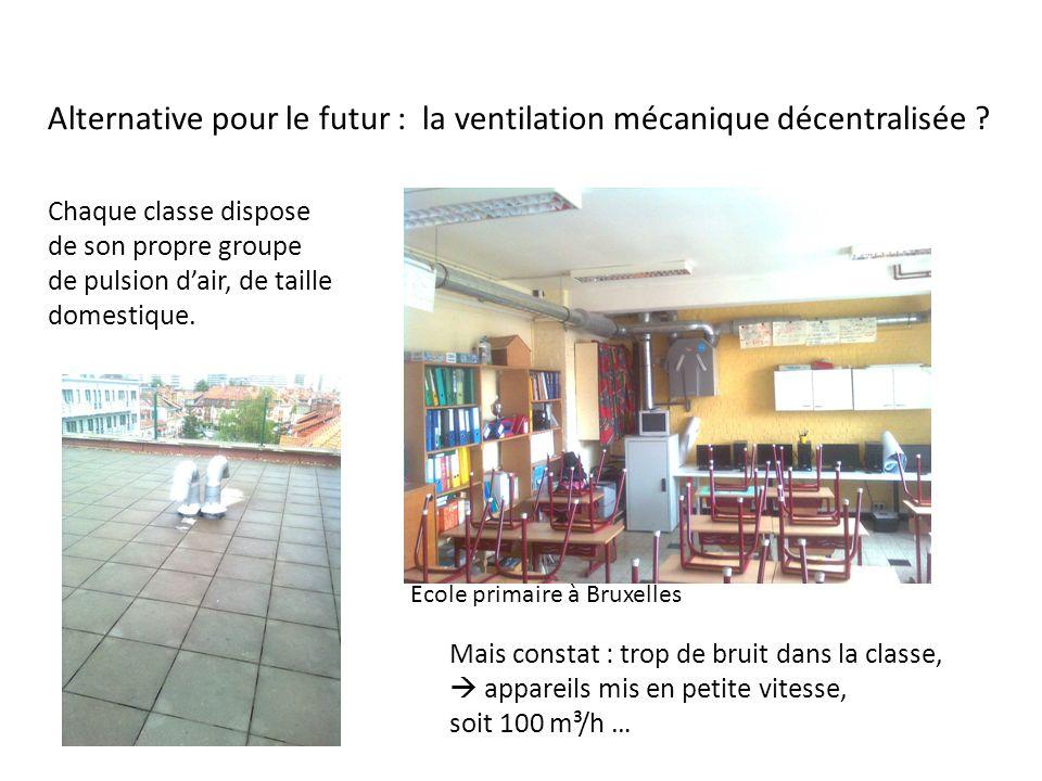 Mais constat : trop de bruit dans la classe, appareils mis en petite vitesse, soit 100 m³/h … Alternative pour le futur : la ventilation mécanique déc