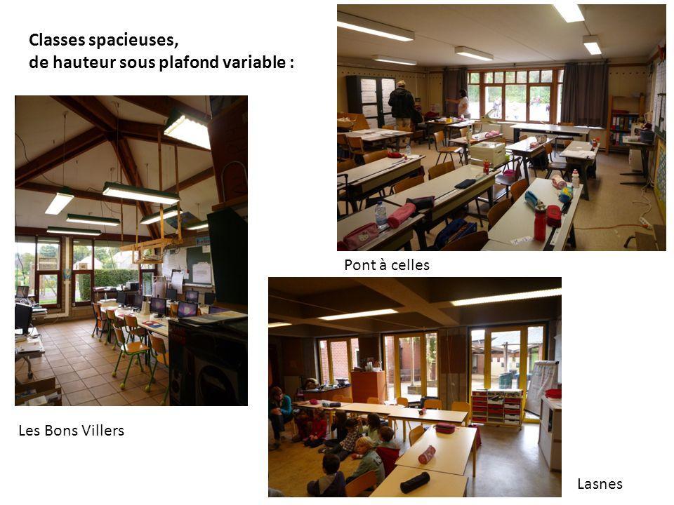 Les Bons Villers Pont à celles Lasnes Classes spacieuses, de hauteur sous plafond variable :