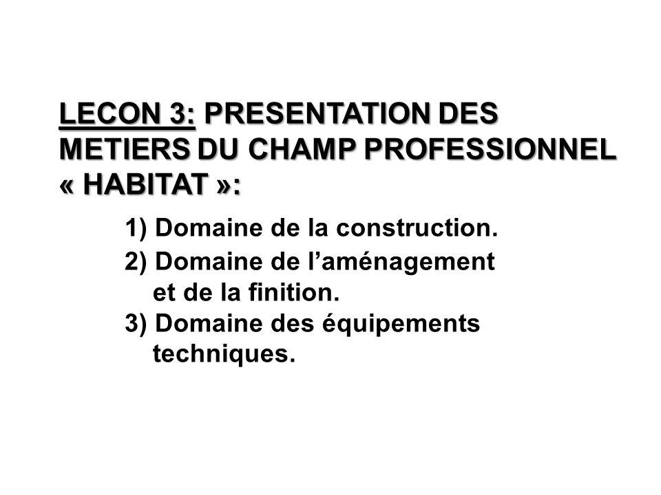 LECON 3: PRESENTATION DES METIERS DU CHAMP PROFESSIONNEL « HABITAT »: LECON 3: PRESENTATION DES METIERS DU CHAMP PROFESSIONNEL « HABITAT »: 1) Domaine de la construction.