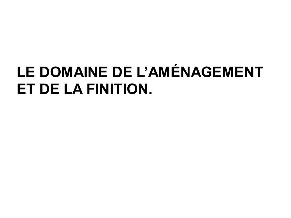 LE DOMAINE DE LAMÉNAGEMENT ET DE LA FINITION.