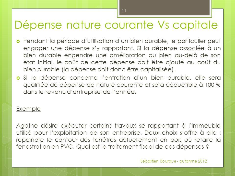 Dépense nature courante Vs capitale Pendant la période dutilisation dun bien durable, le particulier peut engager une dépense sy rapportant.