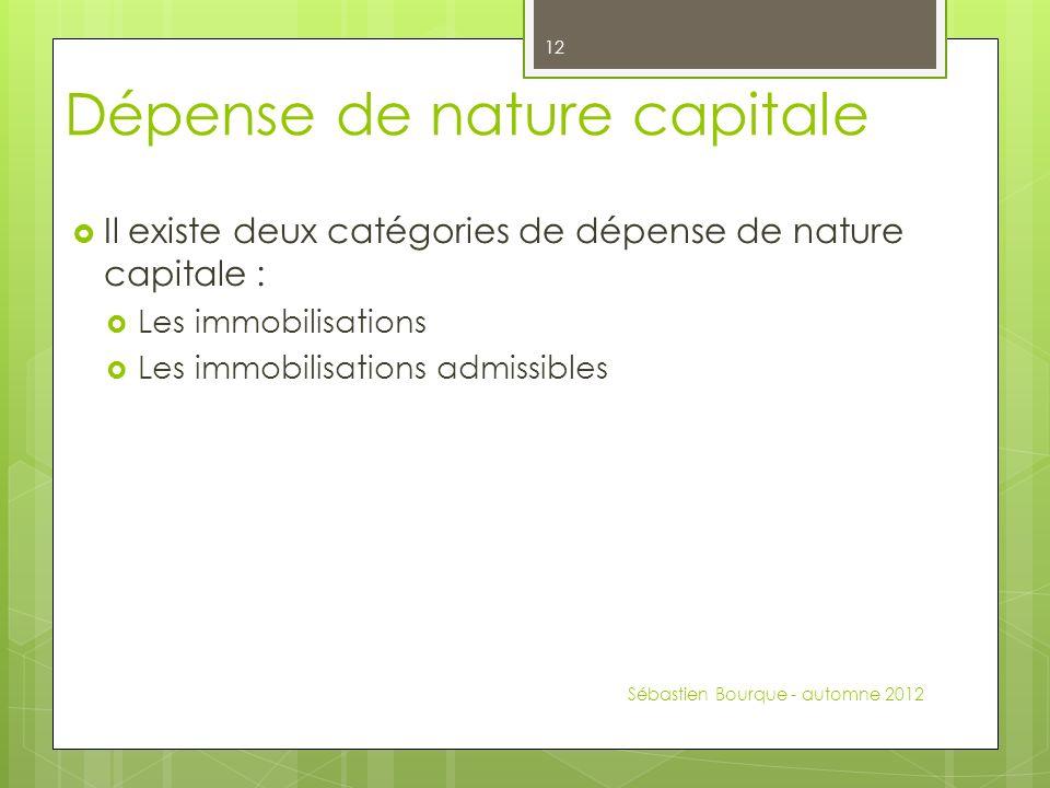Dépense de nature capitale Il existe deux catégories de dépense de nature capitale : Les immobilisations Les immobilisations admissibles Sébastien Bourque - automne 2012 12