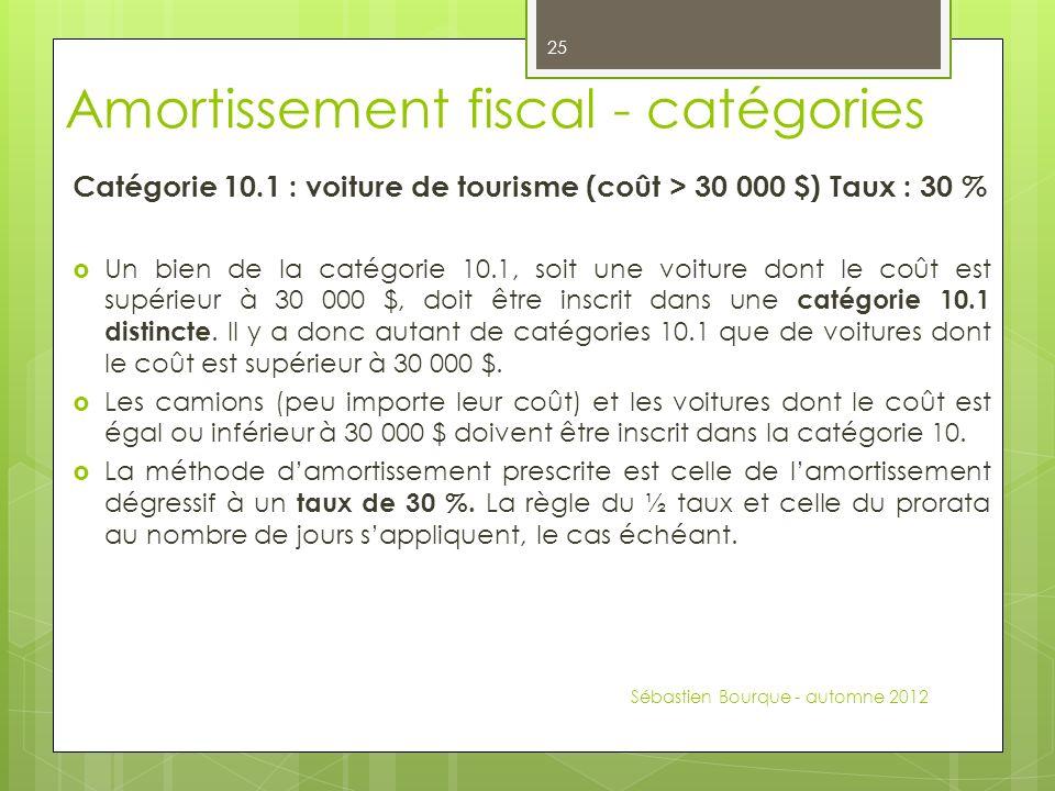 Catégorie 10.1 : voiture de tourisme (coût > 30 000 $) Taux : 30 % Un bien de la catégorie 10.1, soit une voiture dont le coût est supérieur à 30 000 $, doit être inscrit dans une catégorie 10.1 distincte.