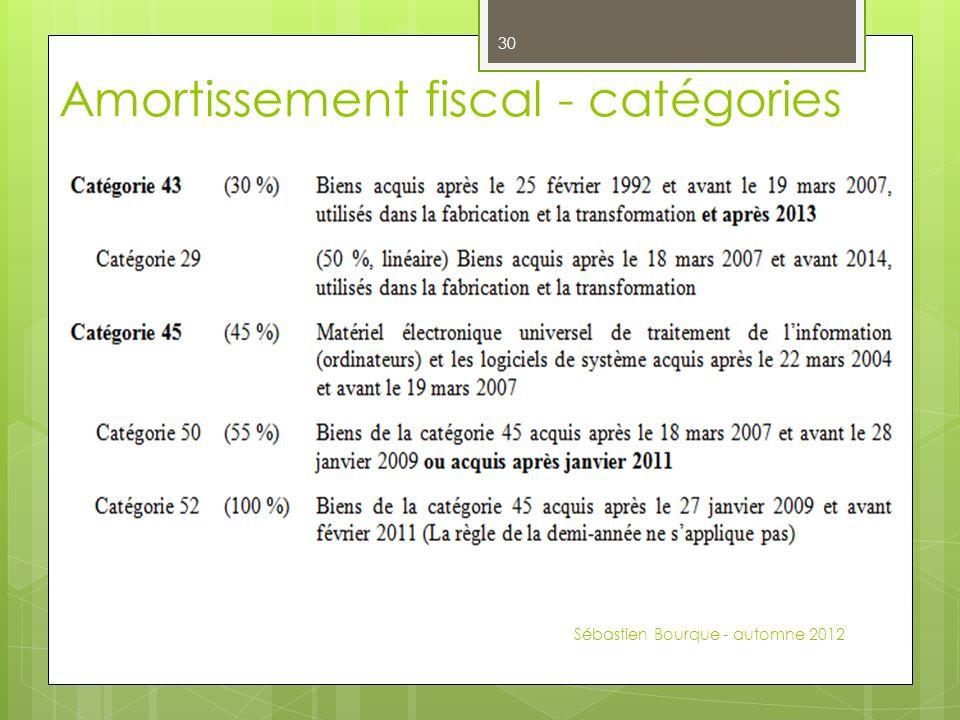 Sébastien Bourque - automne 2012 30 Amortissement fiscal - catégories