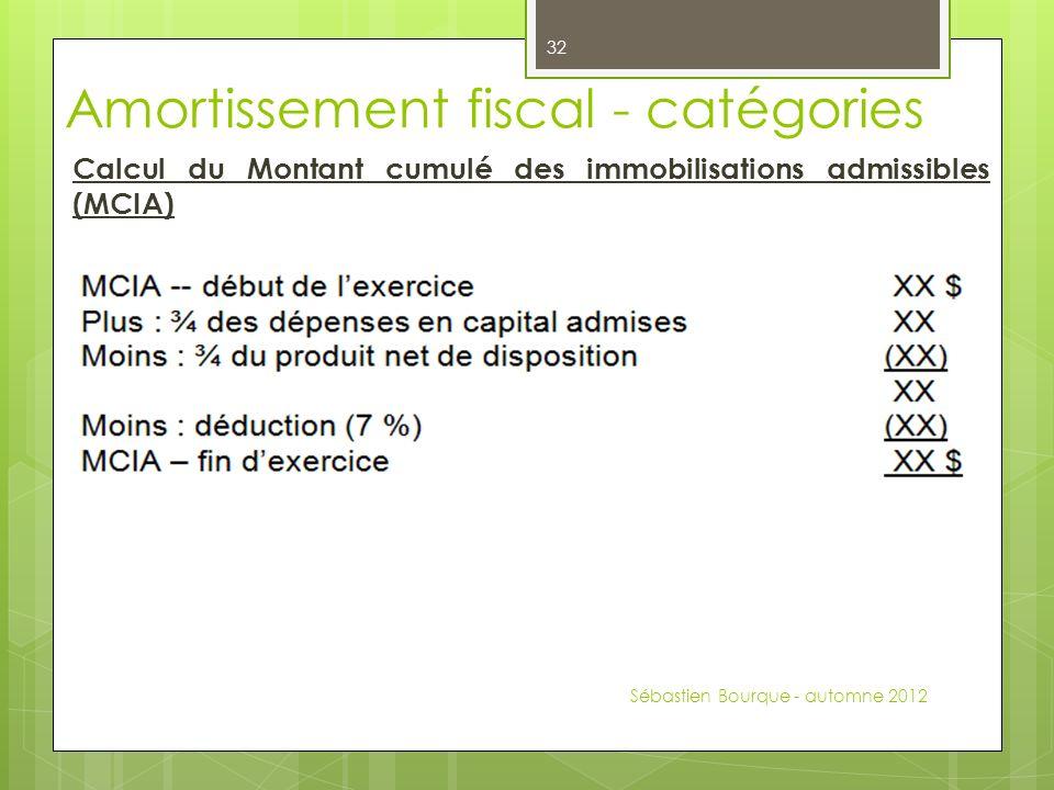 Calcul du Montant cumulé des immobilisations admissibles (MCIA) Sébastien Bourque - automne 2012 32 Amortissement fiscal - catégories