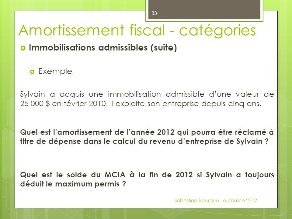 Immobilisations admissibles (suite) Exemple Sylvain a acquis une immobilisation admissible dune valeur de 25 000 $ en février 2010.