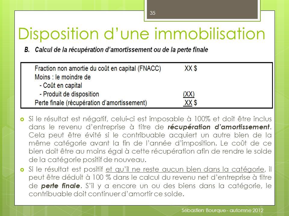 Disposition dune immobilisation Si le résultat est négatif, celui-ci est imposable à 100% et doit être inclus dans le revenu dentreprise à titre de récupération damortissement.
