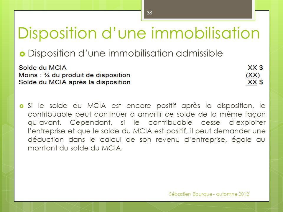 Disposition dune immobilisation admissible Si le solde du MCIA est encore positif après la disposition, le contribuable peut continuer à amortir ce solde de la même façon quavant.