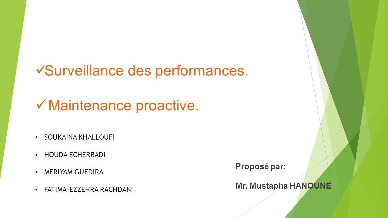 Surveillance des performances.Maintenance proactive.