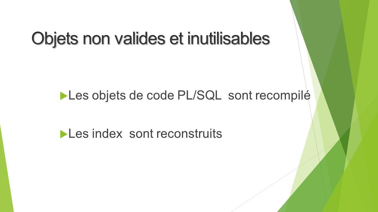 Les objets de code PL/SQL sont recompilé Les index sont reconstruits