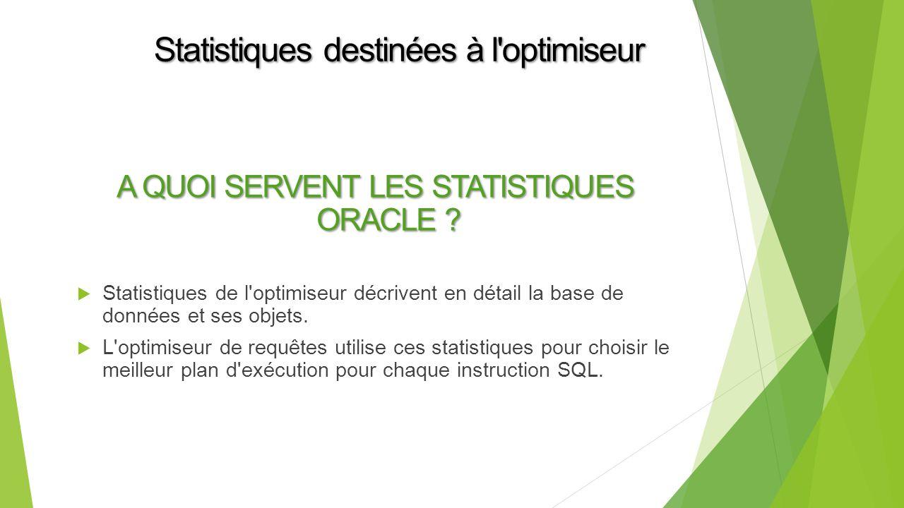 Statistiques destinées à l optimiseur A QUOI SERVENT LES STATISTIQUES ORACLE .