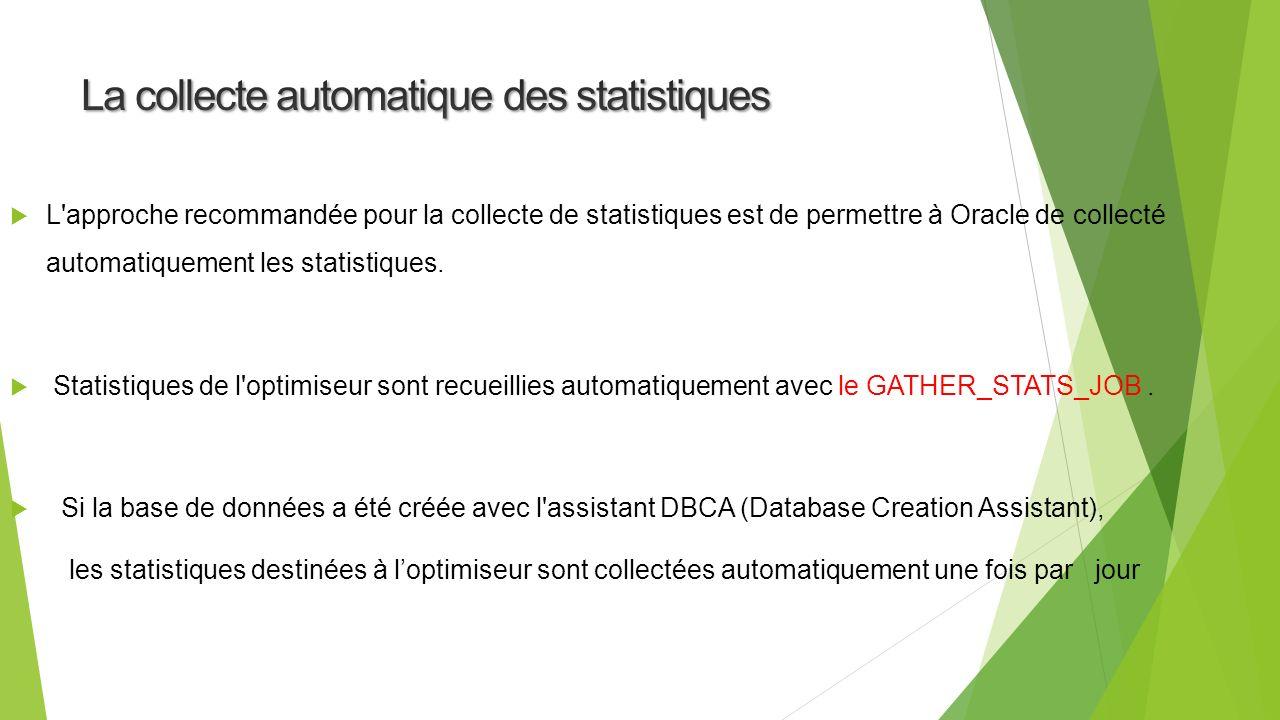 L approche recommandée pour la collecte de statistiques est de permettre à Oracle de collecté automatiquement les statistiques.