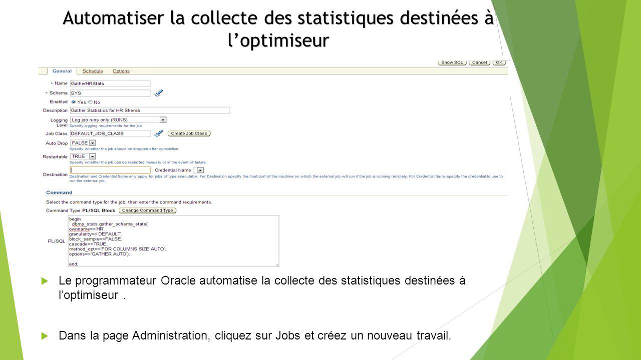 Le programmateur Oracle automatise la collecte des statistiques destinées à loptimiseur.