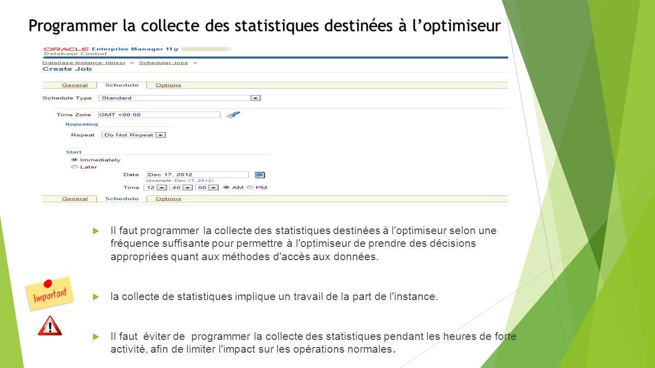 Programmer la collecte des statistiques destinées à loptimiseur Il faut programmer la collecte des statistiques destinées à l optimiseur selon une fréquence suffisante pour permettre à l optimiseur de prendre des décisions appropriées quant aux méthodes d accès aux données.