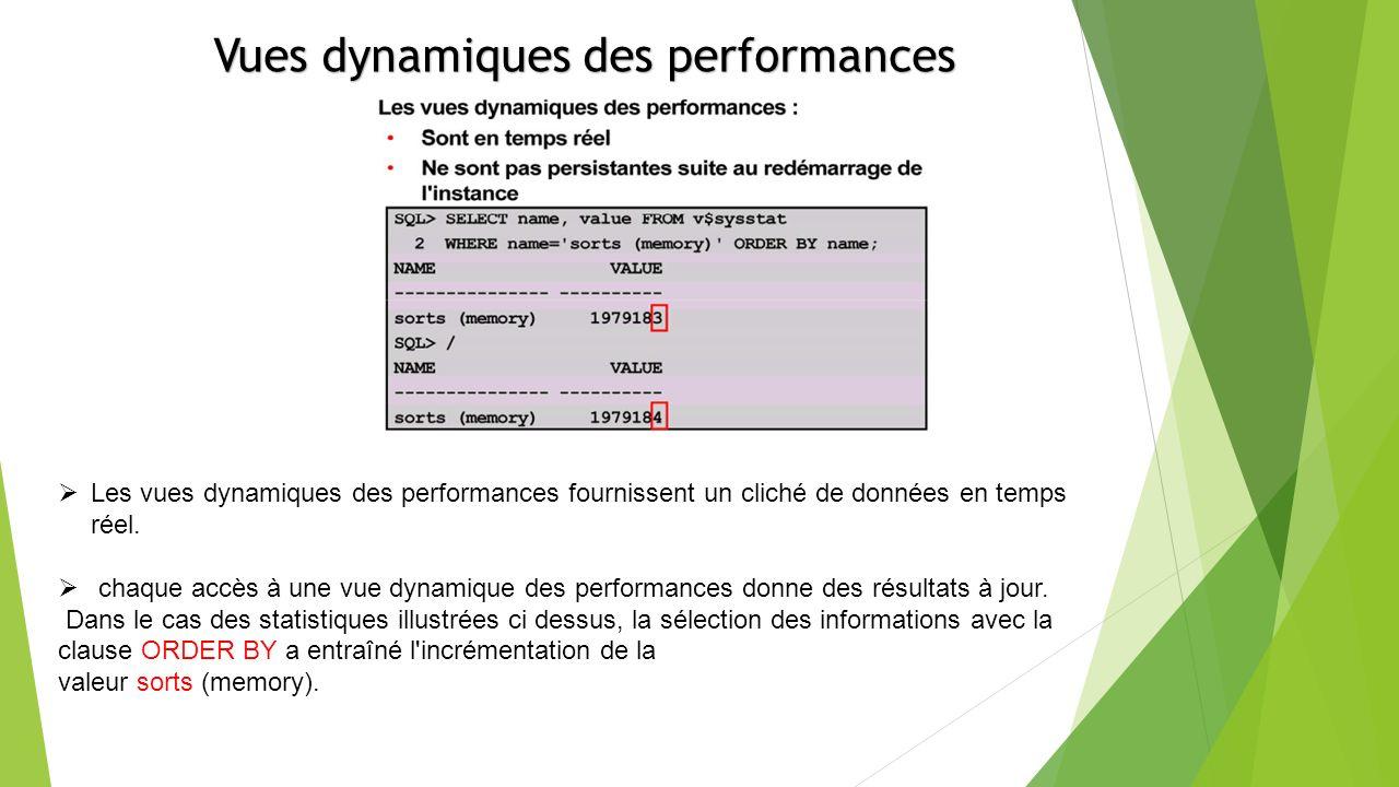 Les vues dynamiques des performances fournissent un cliché de données en temps réel.