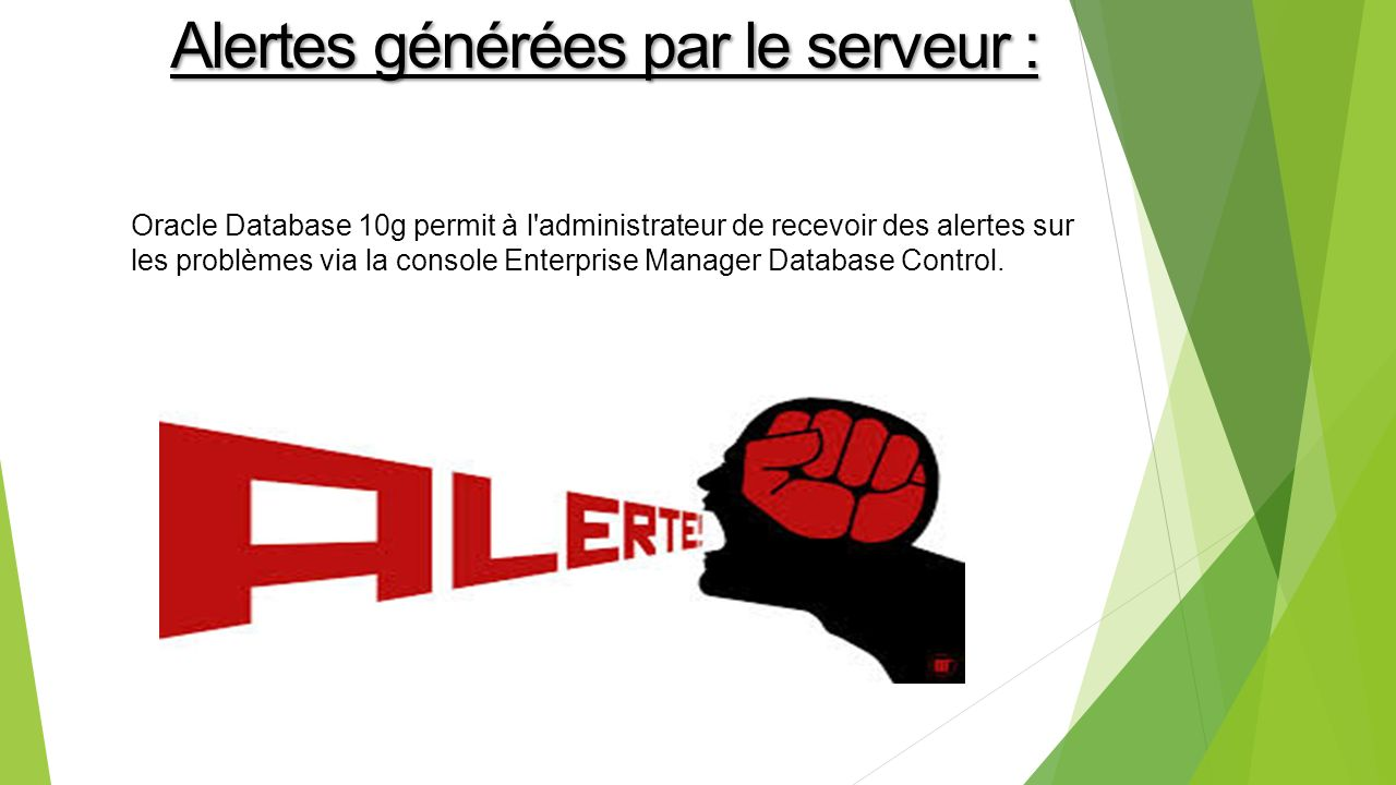 Oracle Database 10g permit à l administrateur de recevoir des alertes sur les problèmes via la console Enterprise Manager Database Control.