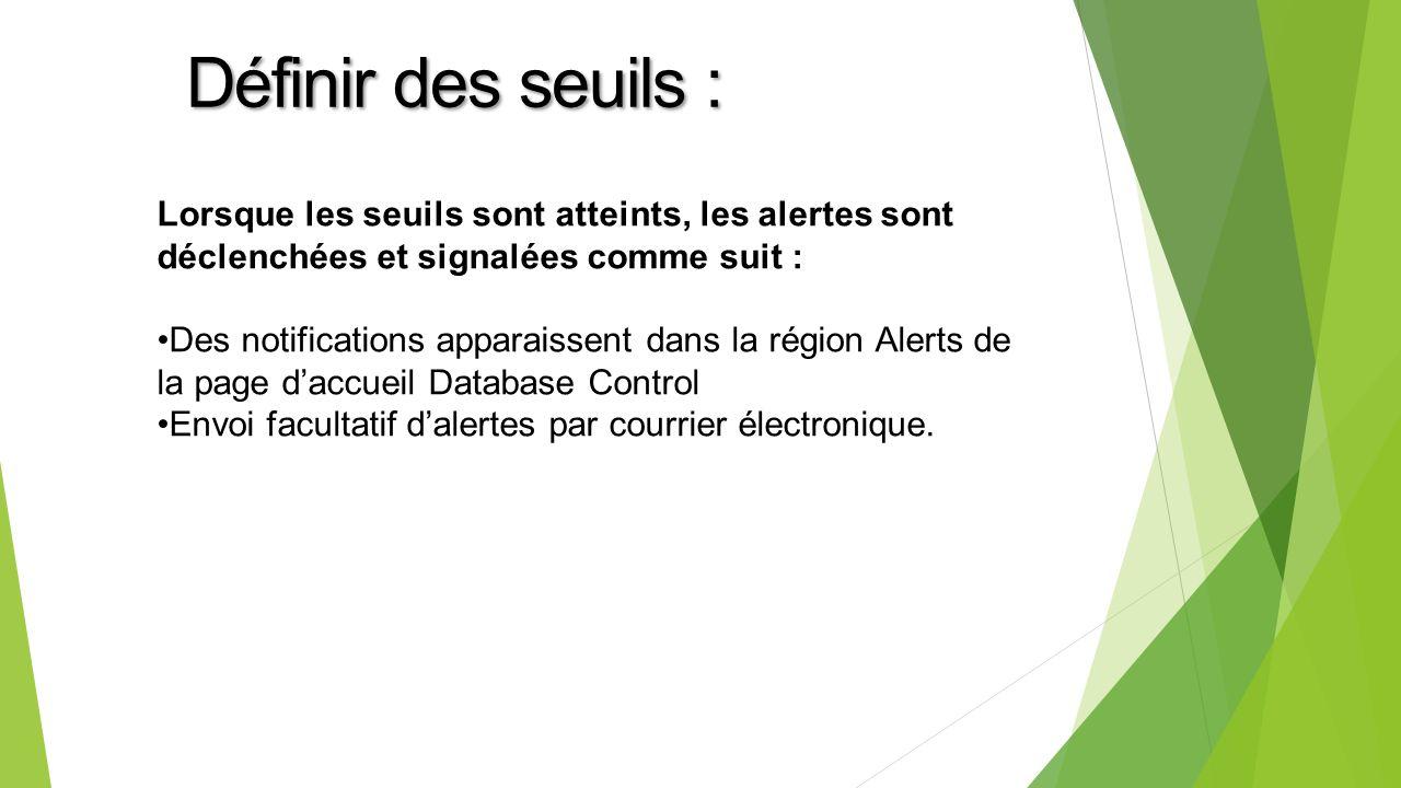 Lorsque les seuils sont atteints, les alertes sont déclenchées et signalées comme suit : Des notifications apparaissent dans la région Alerts de la page daccueil Database Control Envoi facultatif dalertes par courrier électronique.