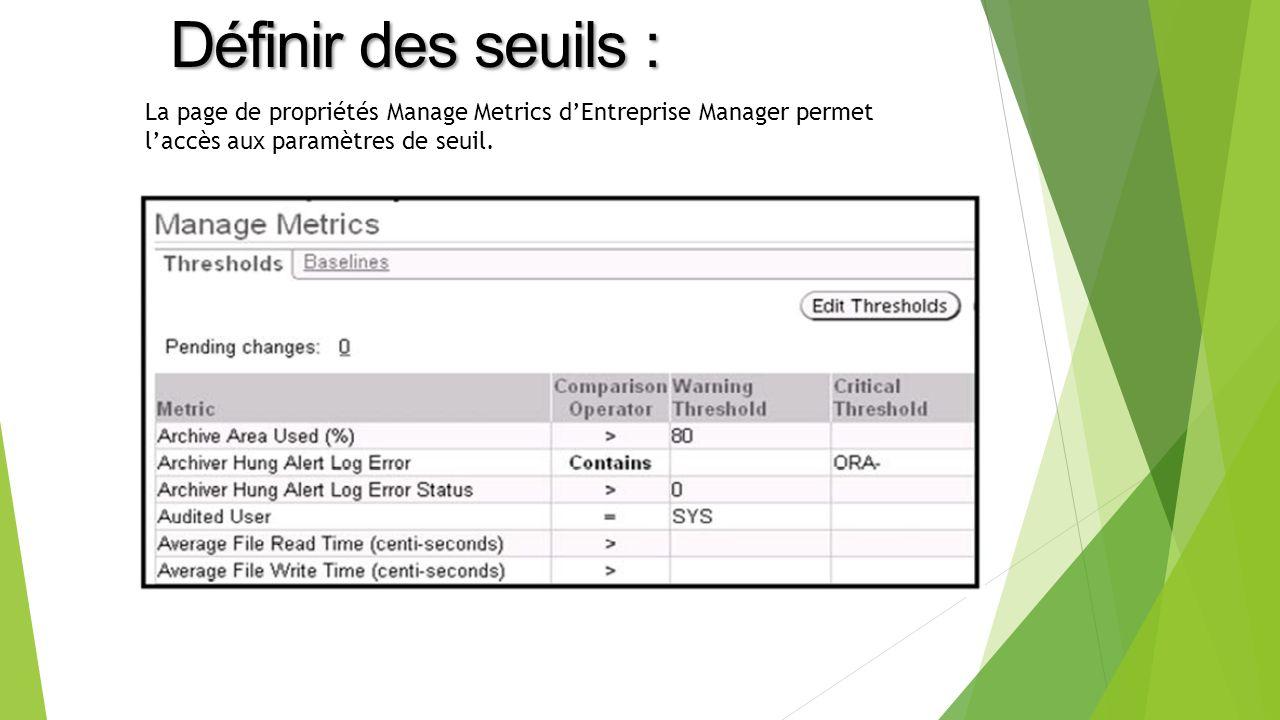 La page de propriétés Manage Metrics dEntreprise Manager permet laccès aux paramètres de seuil.