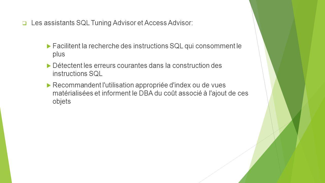 Les assistants SQL Tuning Advisor et Access Advisor: Facilitent la recherche des instructions SQL qui consomment le plus Détectent les erreurs courantes dans la construction des instructions SQL Recommandent l utilisation appropriée d index ou de vues matérialisées et informent le DBA du coût associé à l ajout de ces objets