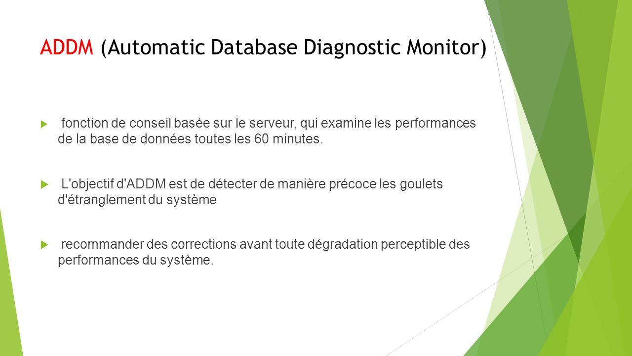 ADDM (Automatic Database Diagnostic Monitor) fonction de conseil basée sur le serveur, qui examine les performances de la base de données toutes les 60 minutes.