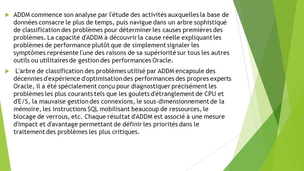 ADDM commence son analyse par l étude des activités auxquelles la base de données consacre le plus de temps, puis navigue dans un arbre sophistiqué de classification des problèmes pour déterminer les causes premières des problèmes.