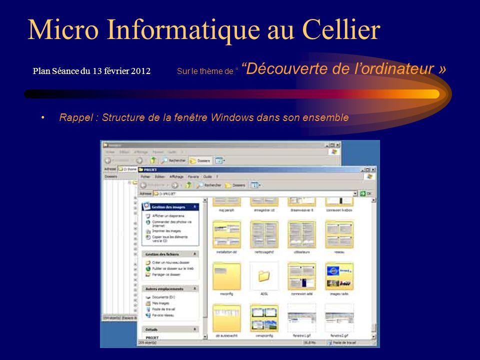 Rappel : Structure de la fenêtre Windows dans son ensemble Micro Informatique au Cellier Plan Séance du 13 février 2012 Sur le thème de Découverte de lordinateur »