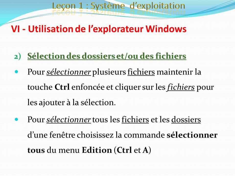 2) Sélection des dossiers et/ou des fichiers Pour sélectionner plusieurs fichiers maintenir la touche Ctrl enfoncée et cliquer sur les fichiers pour l