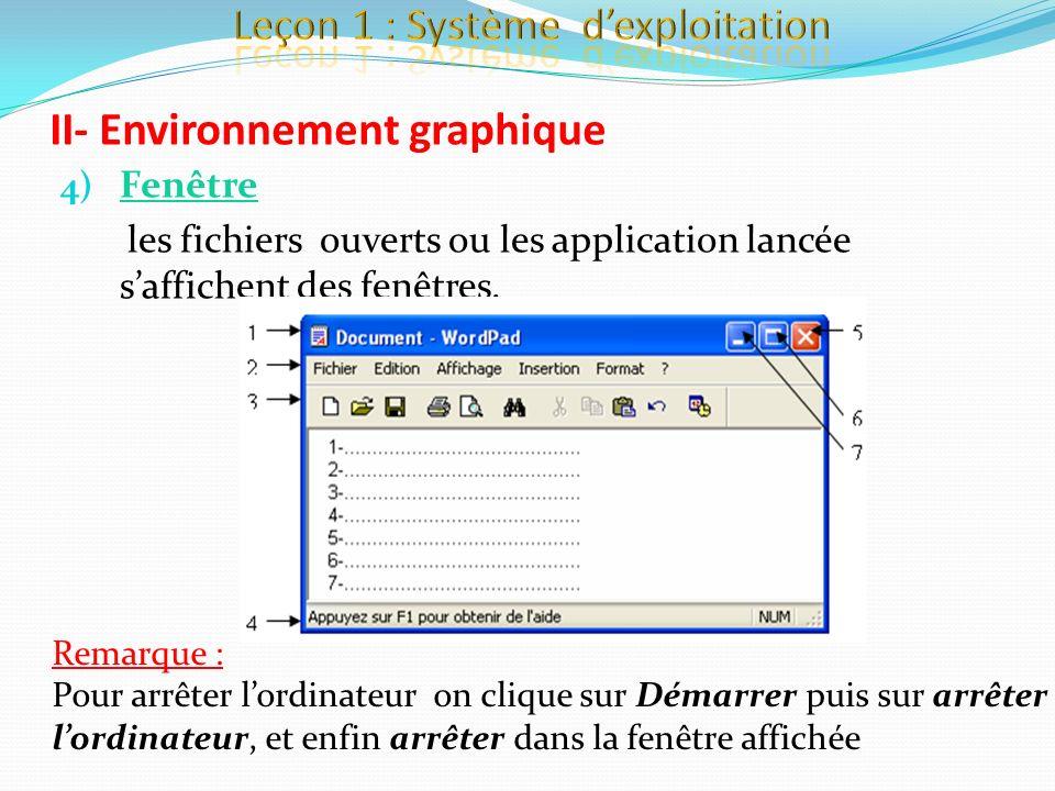 4) Fenêtre les fichiers ouverts ou les application lancée saffichent des fenêtres. II- Environnement graphique Remarque : Pour arrêter lordinateur on