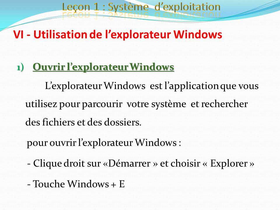 1) Ouvrir lexplorateur Windows Lexplorateur Windows est lapplication que vous utilisez pour parcourir votre système et rechercher des fichiers et des