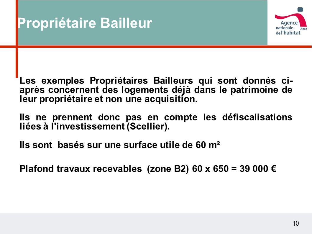 10 Propriétaire Bailleur Les exemples Propriétaires Bailleurs qui sont donnés ci- après concernent des logements déjà dans le patrimoine de leur propriétaire et non une acquisition.