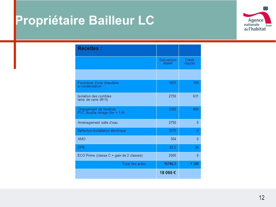 12 Propriétaire Bailleur LC Recettes : Subvention ANAH Crédit impôts Fourniture d une chaudière à condensation 1925189 Isolation des combles laine de verre (R=5) 2750631 Changement de fenêtres PVC double vitrage (Uw = 1,4) 3300494 Aménagement salle d eau27500 Réfection Installation électrique35750 AMO3640 DPE82,534 ECO Prime (classe C + gain de 2 classes)20000 Total des aides …..
