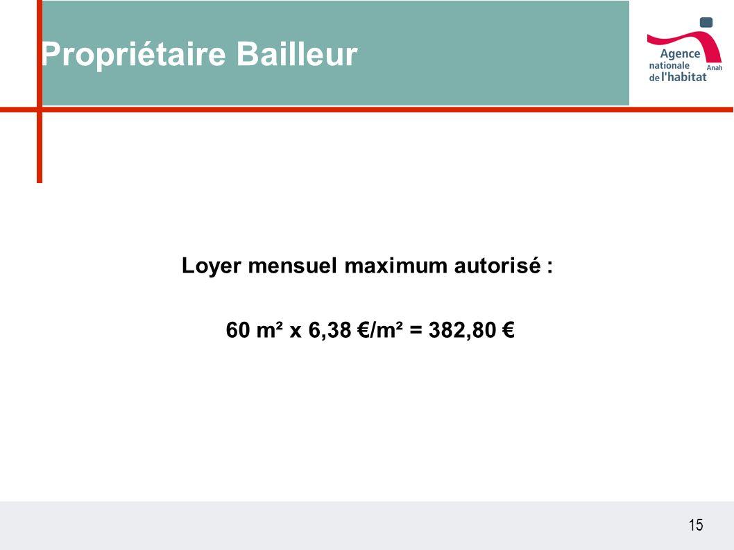 15 Propriétaire Bailleur Loyer mensuel maximum autorisé : 60 m² x 6,38 /m² = 382,80