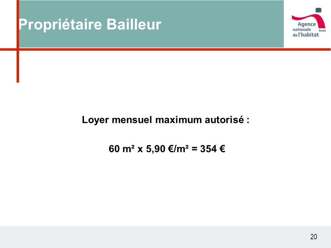 20 Propriétaire Bailleur Loyer mensuel maximum autorisé : 60 m² x 5,90 /m² = 354