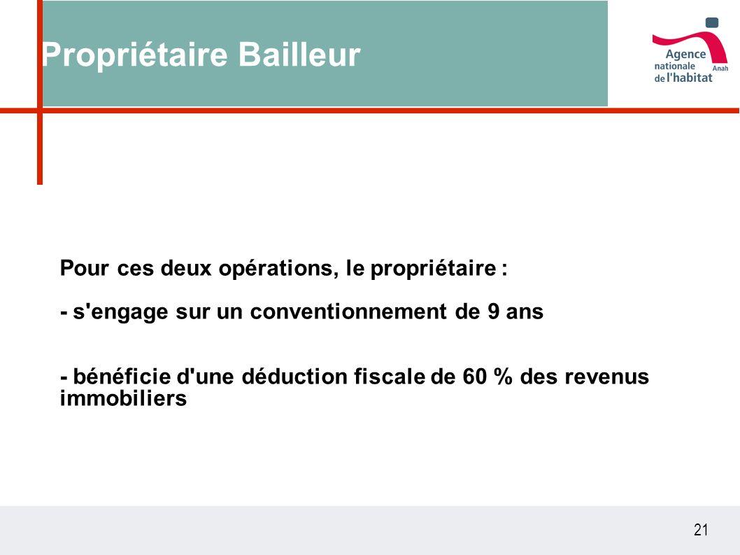21 Propriétaire Bailleur Pour ces deux opérations, le propriétaire : - s engage sur un conventionnement de 9 ans - bénéficie d une déduction fiscale de 60 % des revenus immobiliers