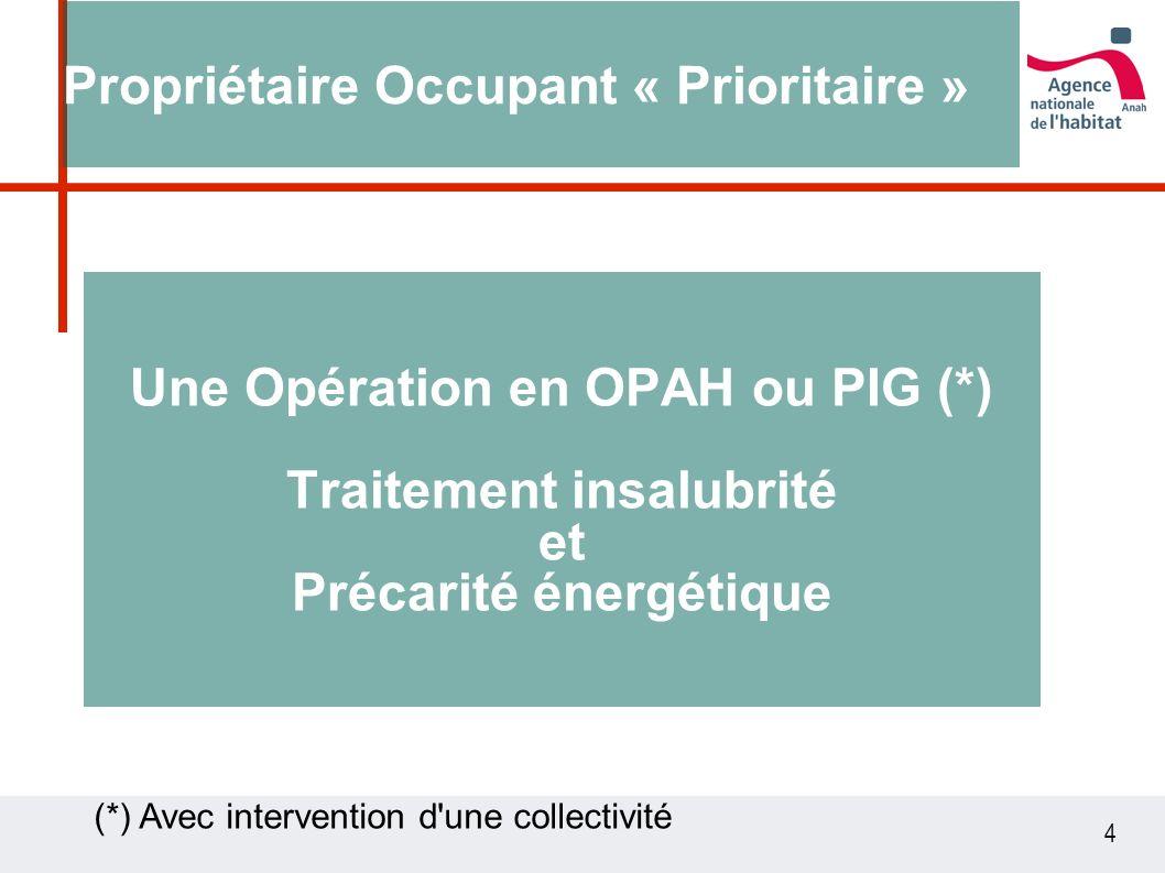 4 Une Opération en OPAH ou PIG (*) Traitement insalubrité et Précarité énergétique Propriétaire Occupant « Prioritaire » (*) Avec intervention d une collectivité