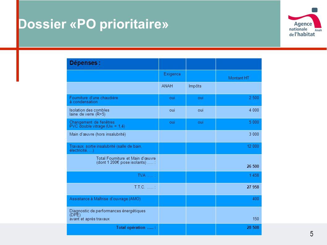5 Dossier «PO prioritaire» Dépenses : Exigence Montant HT ANAHImpôts Fourniture d'une chaudière à condensation oui 2 500 Isolation des combles laine d