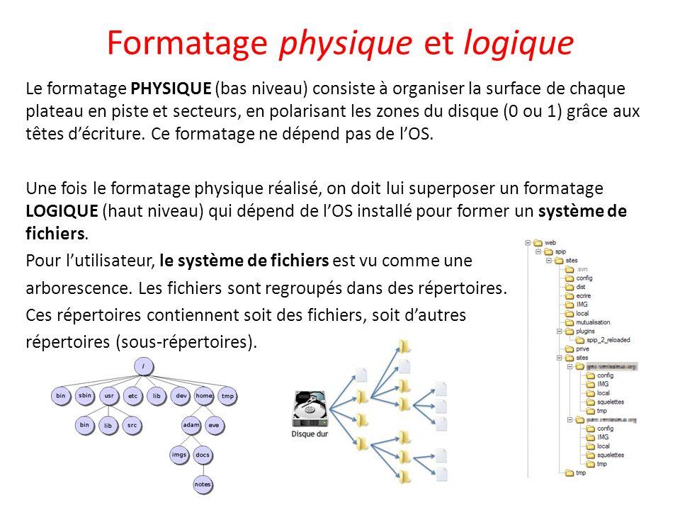 Formatage physique et logique Le formatage PHYSIQUE (bas niveau) consiste à organiser la surface de chaque plateau en piste et secteurs, en polarisant