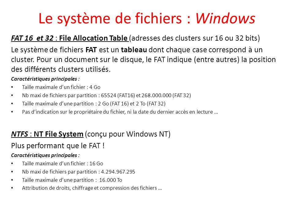 Le système de fichiers : Windows FAT 16 et 32 : File Allocation Table (adresses des clusters sur 16 ou 32 bits) Le système de fichiers FAT est un tabl