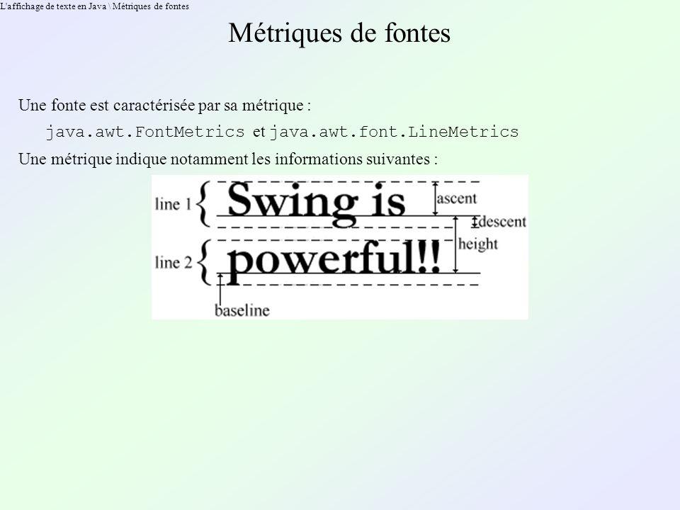 L affichage de texte en Java \ Métriques de fontes Métriques de fontes Une fonte est caractérisée par sa métrique : java.awt.FontMetrics et java.awt.font.LineMetrics Une métrique indique notamment les informations suivantes :