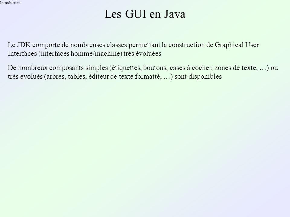 Créer son composant Exemple public class DiagonalComponent extends javax.swing.JComponent { public DiagonalComponent() { } public Dimension getPreferredSize() { return new Dimension( 300, 240 ); } public void paintComponent( Graphics g ) { g.drawLine( 0, 0, getWidth(), getHeight() ); g.drawLine( getWidth(), 0, 0, getHeight() ); }